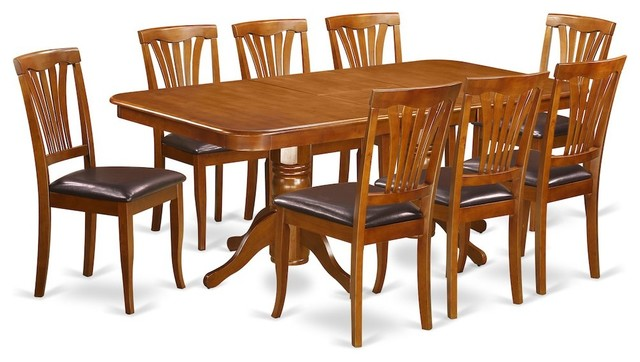 9 Piece Formal Dining Room Set, Table And 8 Chairs, Saddle Brown