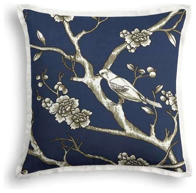 Navy Throw Pillow Sets : Navy Blue Chinoiserie Throw Pillow - Contemporary - Decorative Pillows - by Loom Decor
