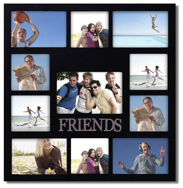 decorative black wood friends wall hanging collage picture photo frame picture frames