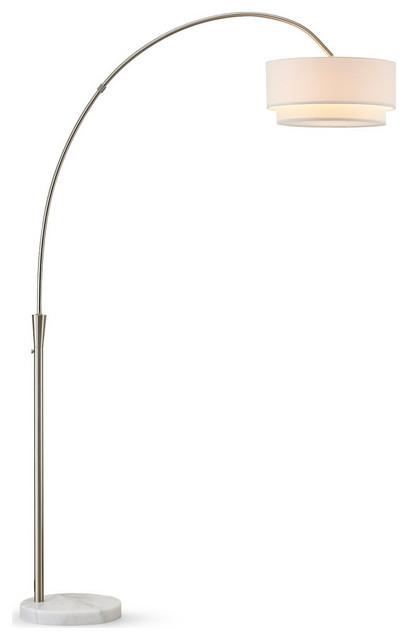 Elan Arch Floor Lamp, Brushed Nickel/White