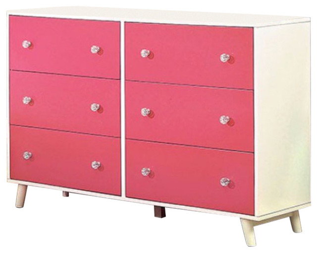 Wooden Dresser In Contemporary Style, Pink And White.