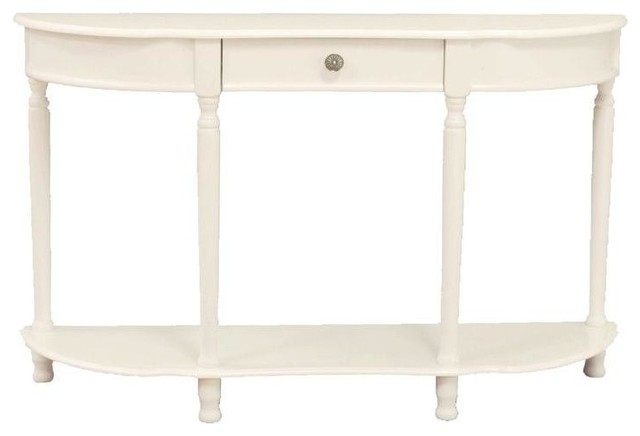 Console Sofa Table With Drawer, White.
