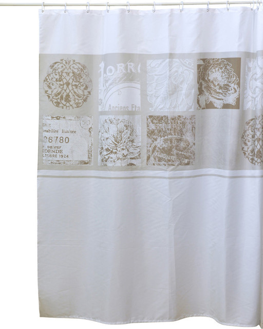 Shower Curtain Paris Romance Fabric Polyester Beige/White Background rustic- shower-curtains