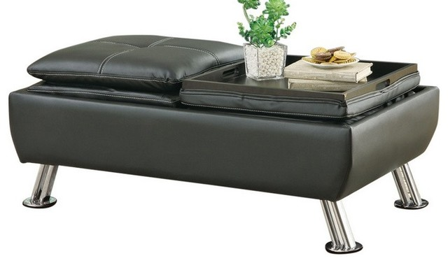 Leatherette Storage Ottoman With Reversible Tray Tops, Black.