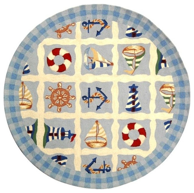 Round Nautical Rug In Blue Ft Contemporary Area Rugs By 5
