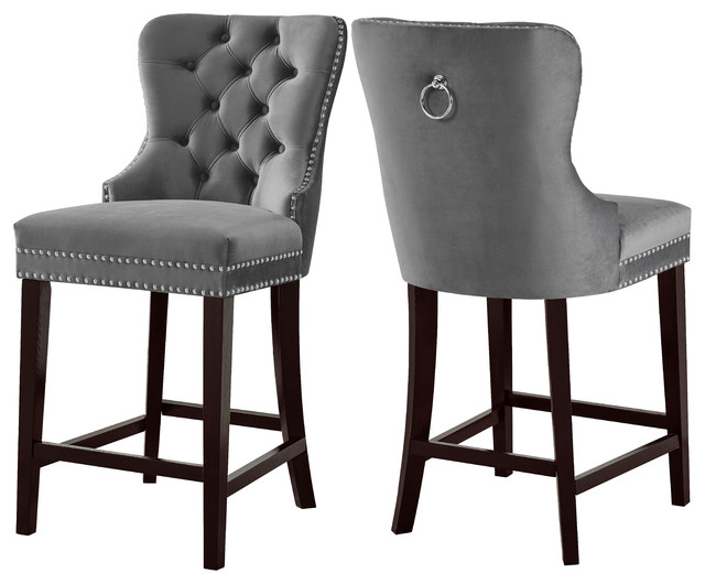Nikki Velvet Stools Set Of 2 Transitional Bar Stools And