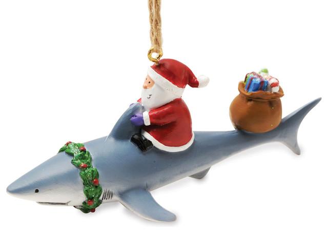 Santa Riding Shark Nautical Fishing Christmas Ornament - Santa Riding Shark Nautical Fishing Christmas Ornament - Beach Style