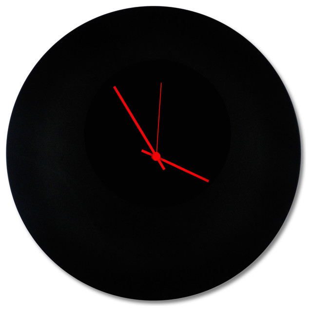 Blackout Red Circle Clock Modern Minimalist Black Wall Clocks Hands