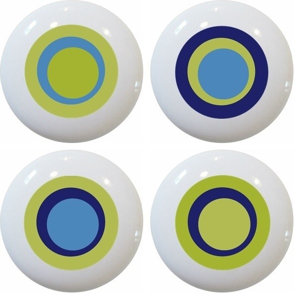 Carolina Hardware and Decor, LLC - 4 Green Retro Circle Ceramic Knobs - View in Your Room! | Houzz