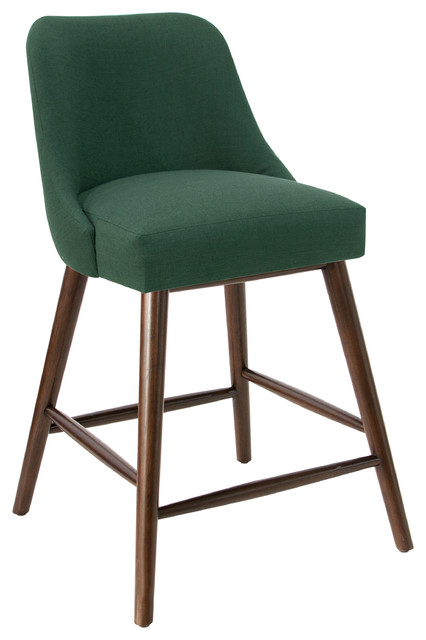 Rounded Back Counter Stool in Linen Conifer Green
