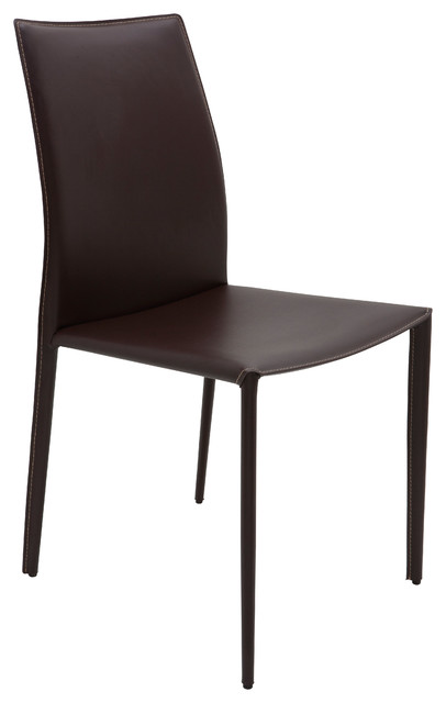 Sienna Leather Dining Chair, Brown With Contrast Stitching.