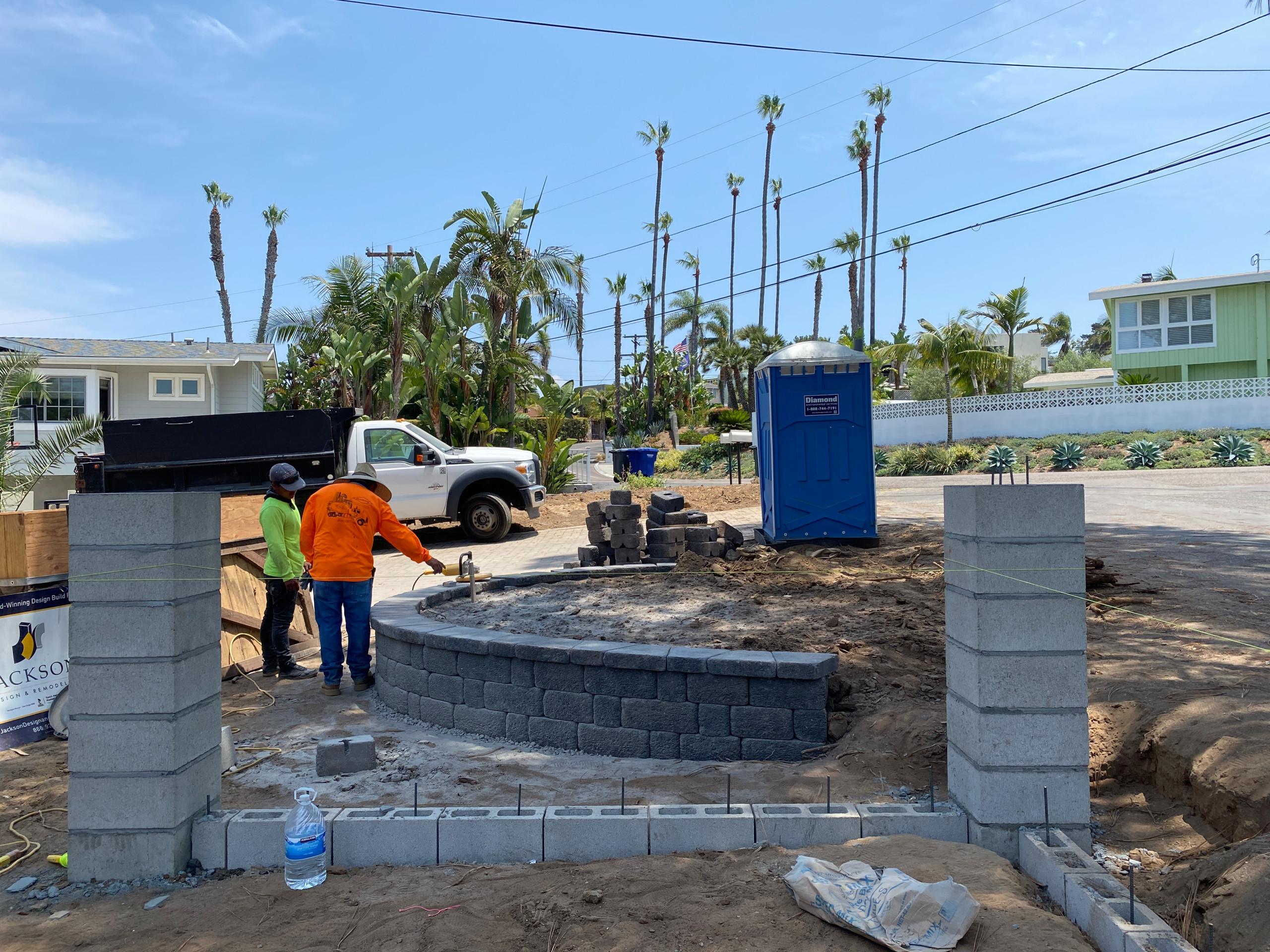 Building a Country Manor Garden Wall in Solana Beach