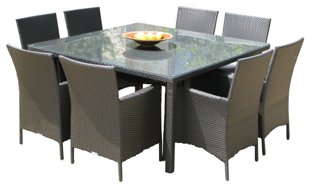Outdoor Wicker New Resin 9 Piece Square Dining Table And Chairs Set