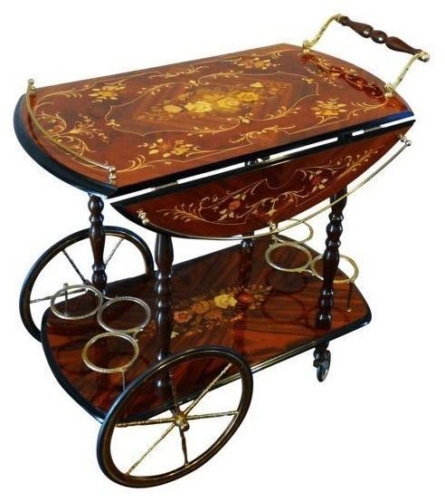 Used Vintage Italian Marquetry Inlay Bar Cart