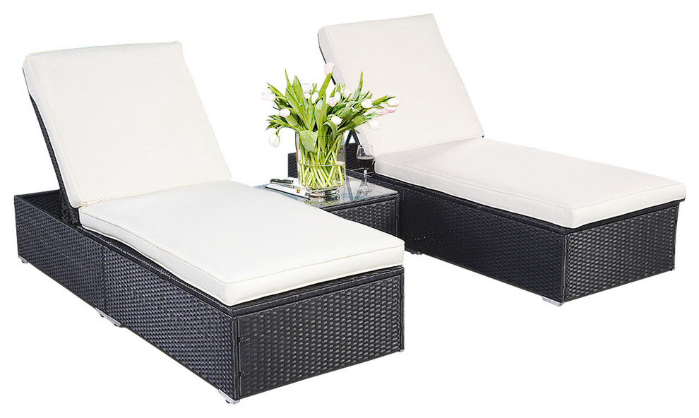 outdoor patio chaise lounge chair wicker rattan 3 piece black prvw vr