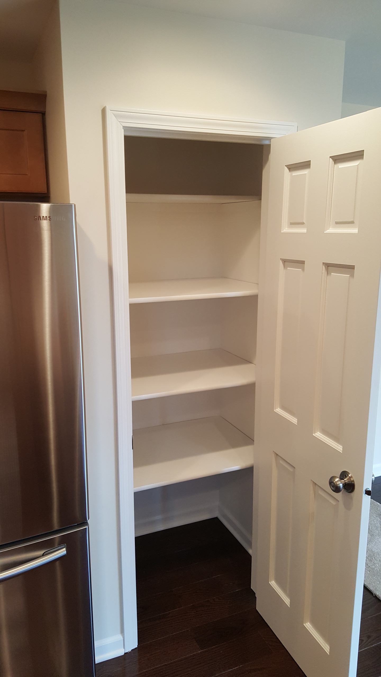 Newly added shelved out pantry