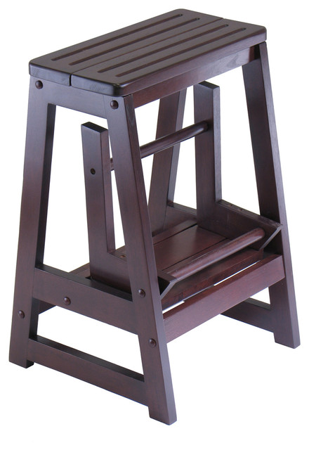 Antique Walnut Step Stool Double Transitional Ladders