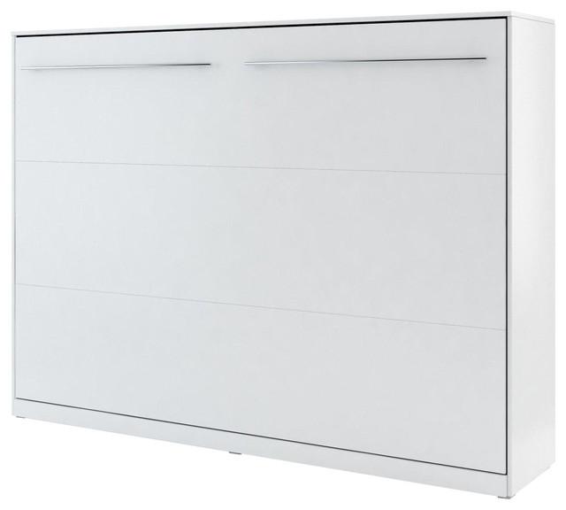 Meris Horizontal Wall Bed, Matte White, Euro Double