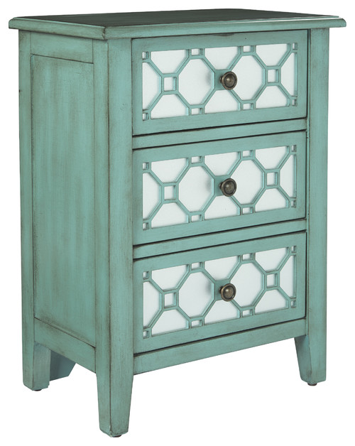 Storage Cabinet With 3 Drawers, Antique Steel Blue