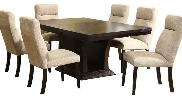 Avery Extension Leaf Pedestal Dining Table, Espresso transitional-folding- tables