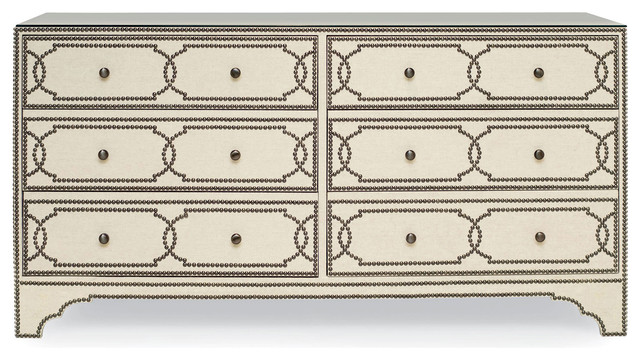 Isabella Hollywood Regency Linen Brass Stud 6 Drawer Nailhead Dresser.
