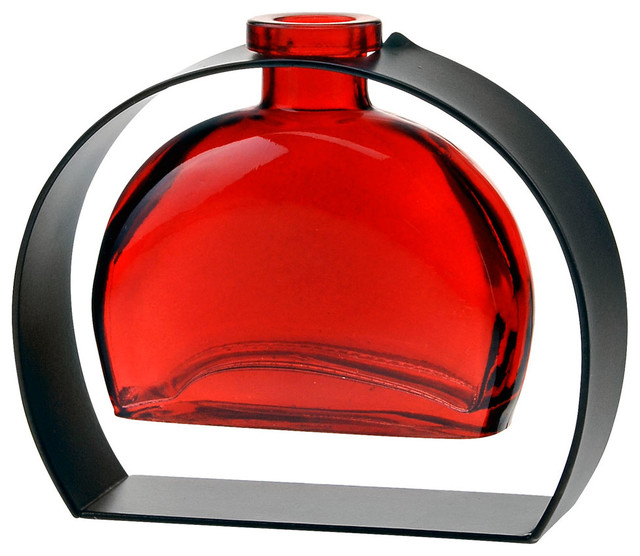 Couronne Co. Fiji Recycled Glass Vase and Arched Metal Stand, Red