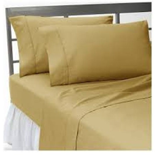 400tc 100 egyptian cotton solid beige short queen size sheet set