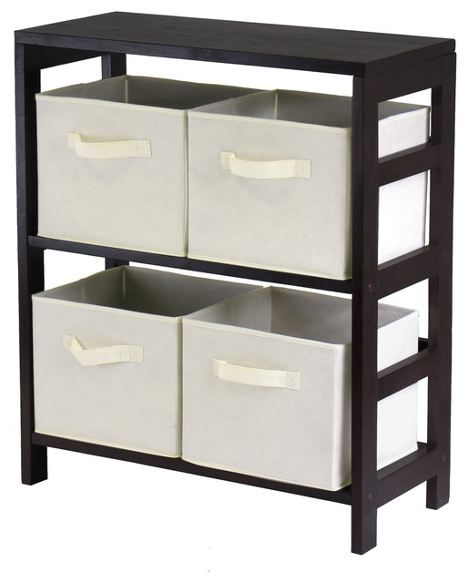 Capri 2 Section M Storage Shelf With 4 Foldable Beige Fabric Baskets  Transitional Storage