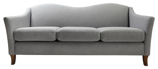 Julian Recessed Arm Sofa, Light Grey.