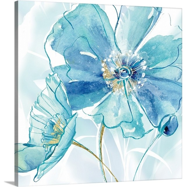 """Houzz Spring Landscaping Trends Study: """"Blue Spring Poppy I"""" Wrapped Canvas Art Print"""