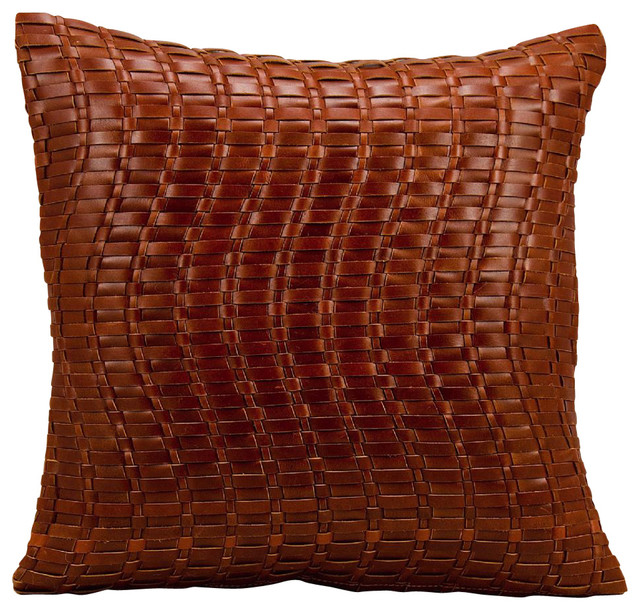 Contemporary Decorative Pillows: Natural Leather Hide Pillow, Cognac, Polyester Filler