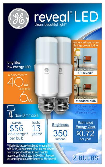 Lighting Bulb2700k6w2 Reveal® Stik™ 36455 Led Tubular Pack Bright Ge UqMGpSzV
