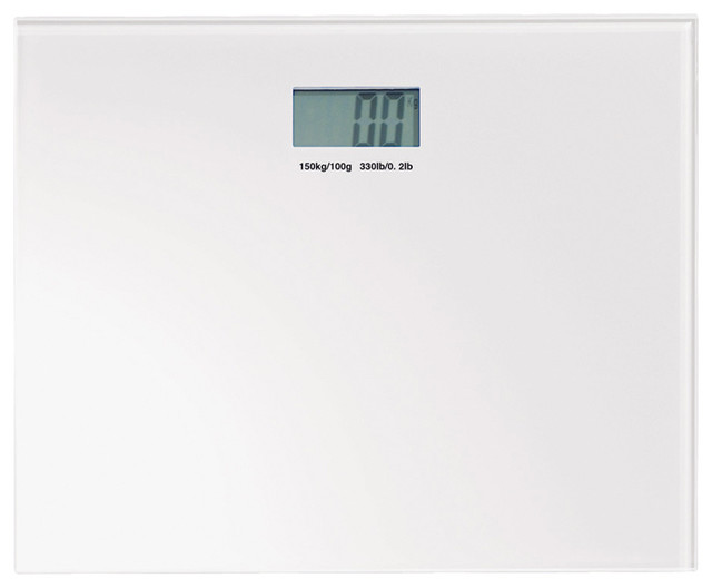 Square White Electronic Bathroom Scale Contemporary Bathroom Scales