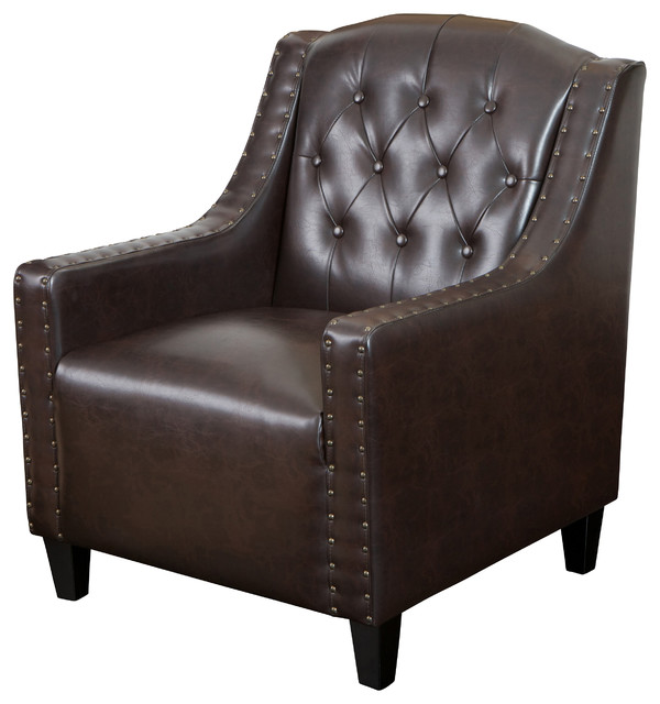 Nottingham Tufted Leather Club Chair Midcentury