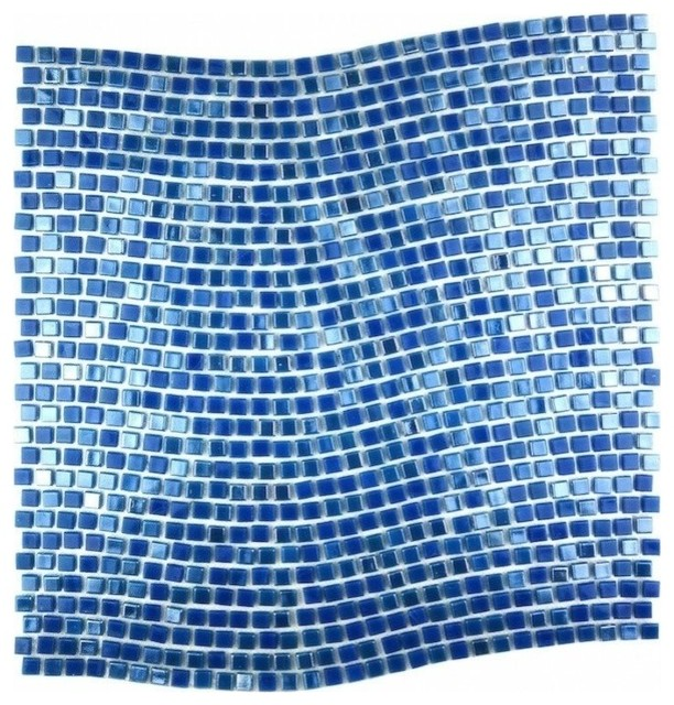 Blue Day Sky Wavy Glass Mosaic Tile Contemporary