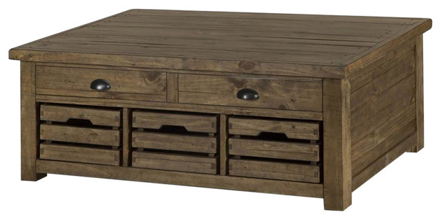 Magnussen Stratton Rustic Lift Top Storage Coffee Table With