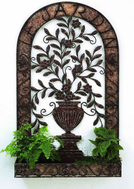 Tuscan Quot Quot Le Gardin Quot Quot Iron And Tole Wall Planter With Urn