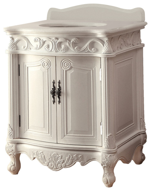 "Petite Bathroom Vanity 27"" antique-style white petite powder hayman bathroom sink vanity"