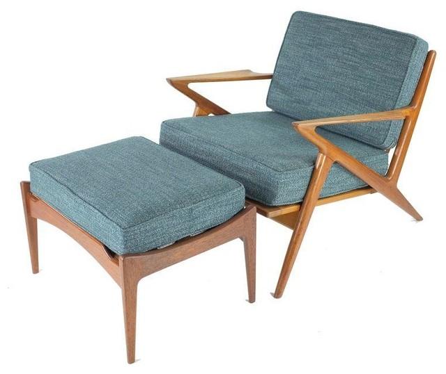 Vintage Poul Jensen Selig Z Chair And Ottoman Set