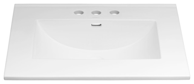 """Ronbow Kara Ceramic Sink Top With 8"""" Widespread Faucet Hole, White, 25""""."""
