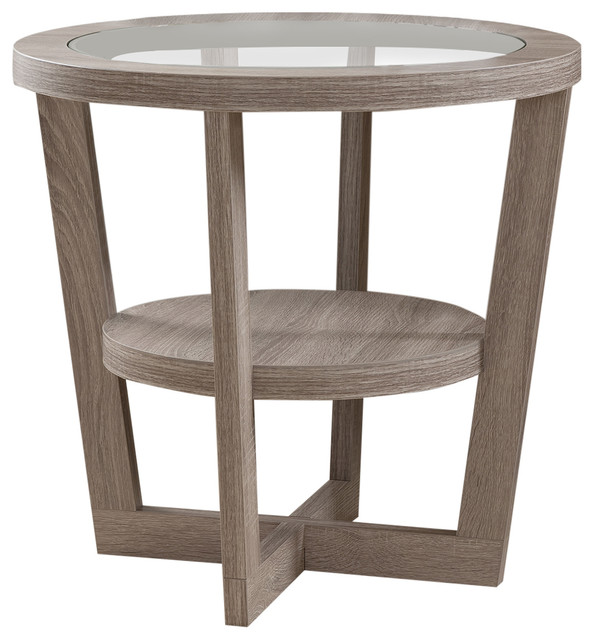 cominos round end table light oak contemporary side tables and end tables by zenia home. Black Bedroom Furniture Sets. Home Design Ideas