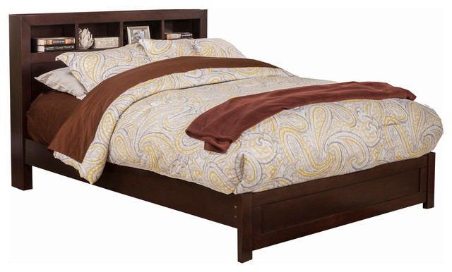 Solana Platform Bed With Bookcase Headboard, Twin.