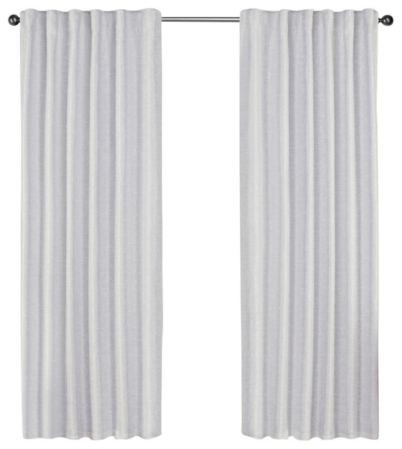 "Zeus Back Tab Top Curtains, Set Of 2, Winter White, 52""x96""."