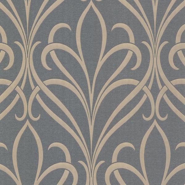 Lalique Silver Nouveau Damask Wallpaper Bolt.