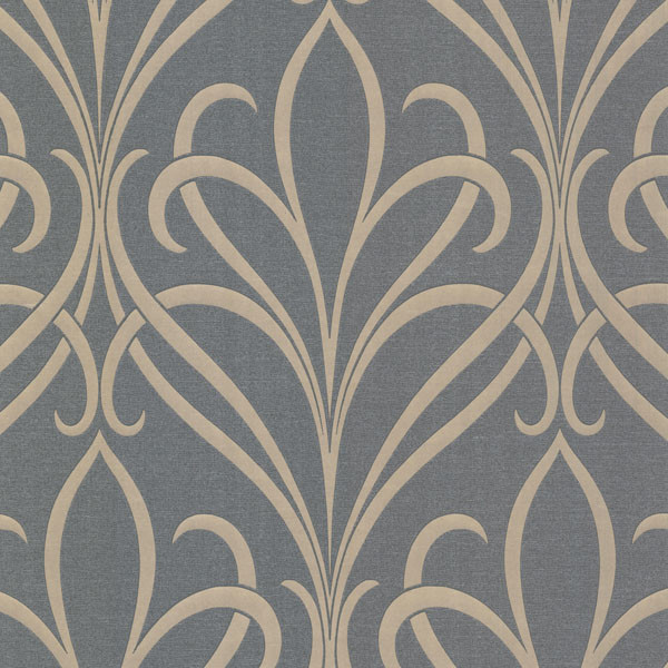 Lalique silver nouveau damask wallpaper bolt - Papel de pared moderno ...