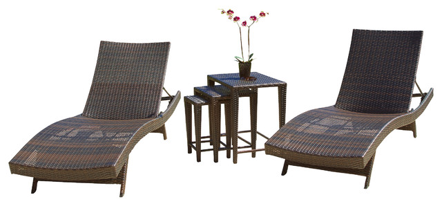 Lakeport 5-Piece Outdoor Adjustable Chaise Lounge Set.