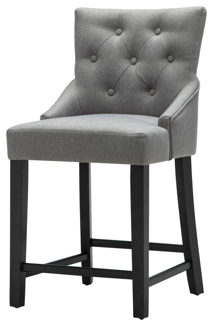 Tufted Counter Height Chair Gray Linen Set Of 2