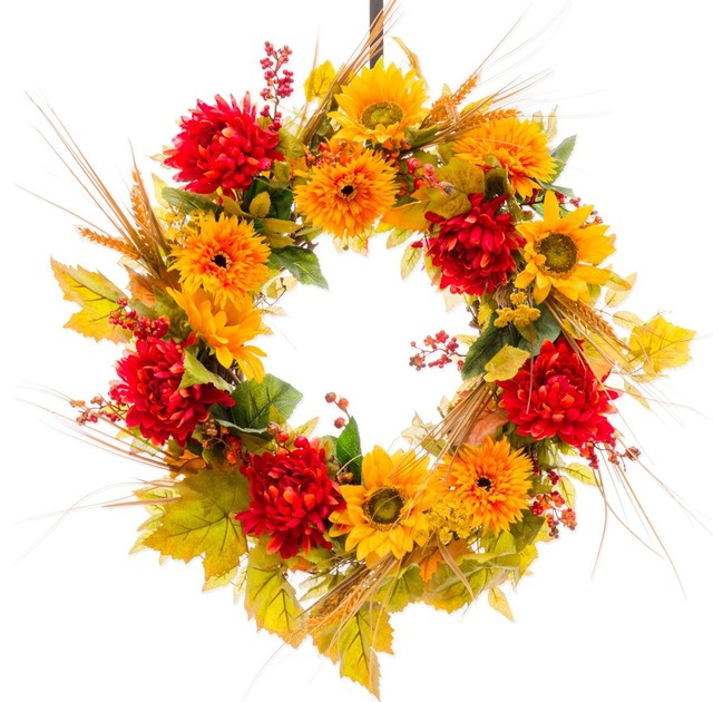Yellow Sunflower And Red Mum Fall Wreath (fw126), 26 Inch.