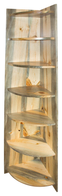 Rustic Blue Pine Corner Shelf