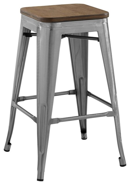 Tremendous Country Farm Bar Dining Counter Stool Chair Metal Steel Wood Silver Download Free Architecture Designs Rallybritishbridgeorg